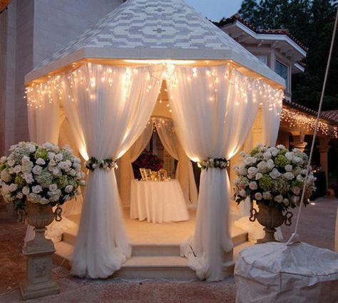 Beautiful Summer Decorating With Mosquito Nets Improving Pergola And Gazebo Designs Gazebo Decorations Gazebo Wedding Wedding Decorations