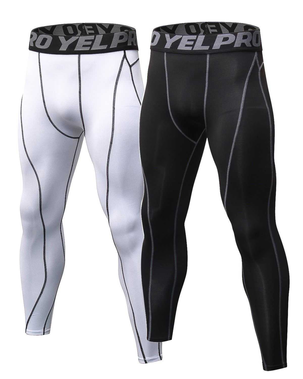 Mens compression pants 2 pack base layer sports tights