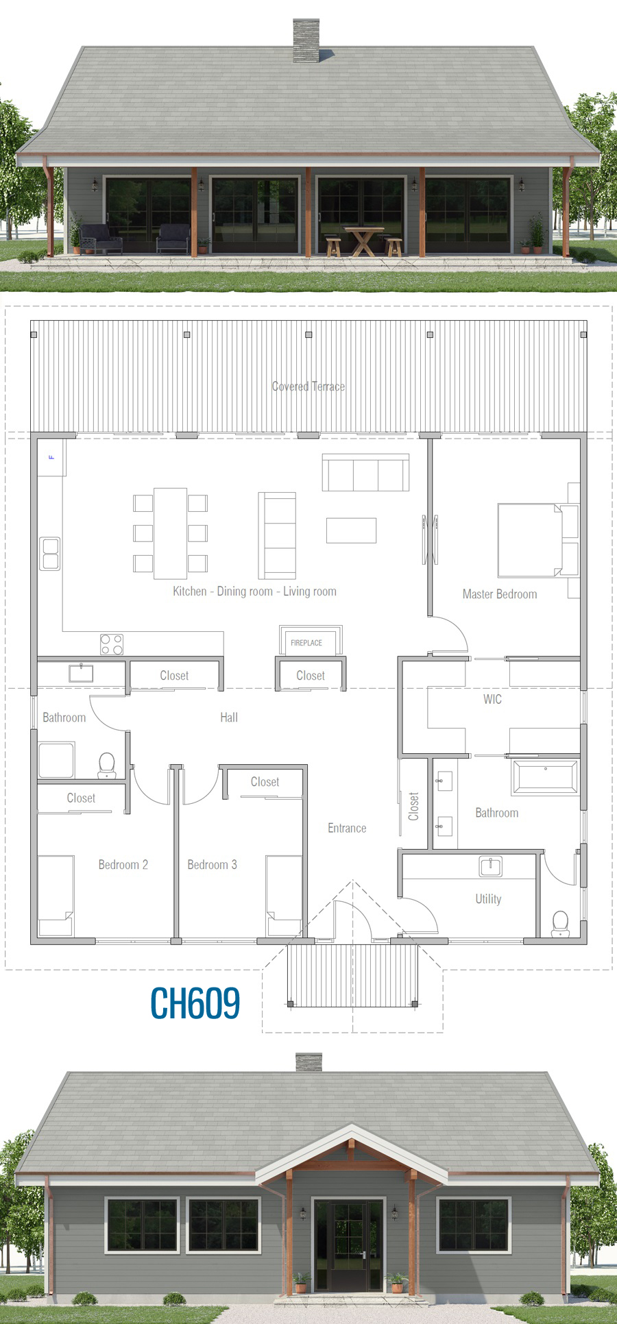 Small House Plan Ch609 My House Plans Architectural House Plans New House Plans