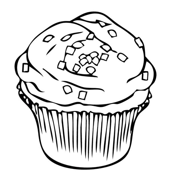 Cupcake With Square Sprinkles Coloring Page Cupcake Coloring