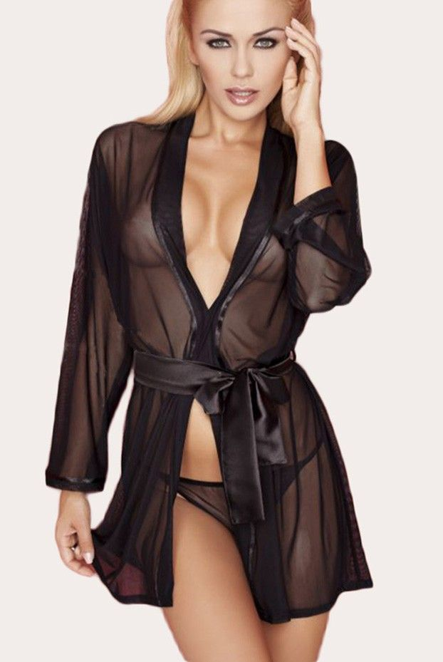 Beautiful Flirtatious Sheer Mesh Black Robe  aab99226c