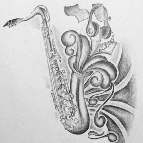 17f52981f saxaphone drawing Music Quote Tattoos, Body Art Tattoos, Zentangle, Tattoo  Sketches, Art