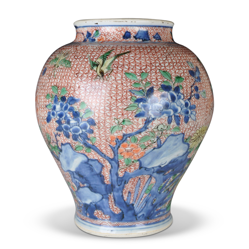 A Floral Transitional Period Wucai Vase