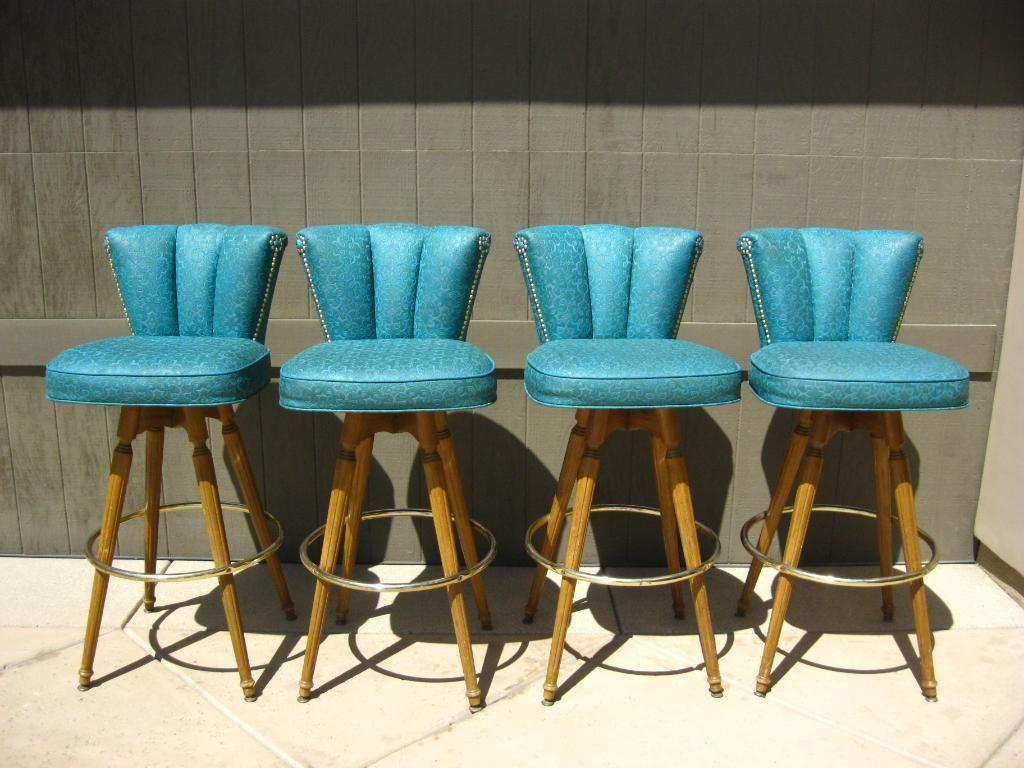 Set Of 4 Atomic Mid Century Modern Swivel Turquoise BAR STOOLS .