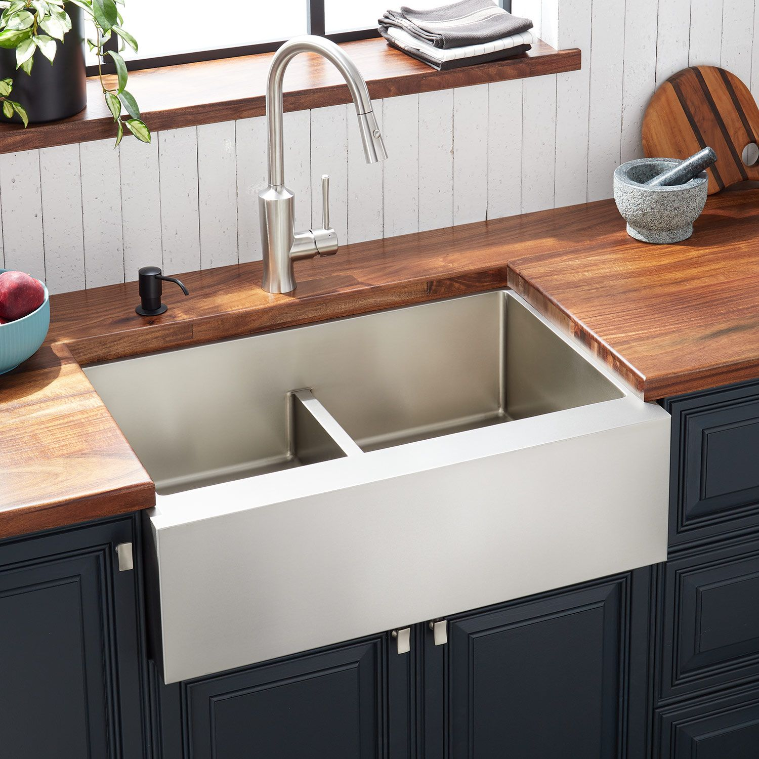 29 Atlas Double Bowl Stainless Steel Farmhouse Sink In Pewter