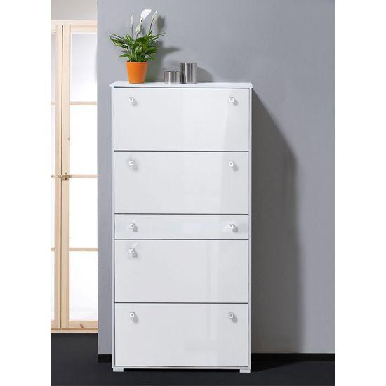 White Hallway Storage Furniture: Milano Hi-Gloss White Shoe Storage Cabinet