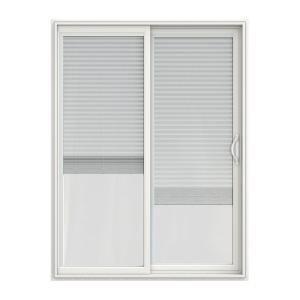 JELD WEN 60 In. X 80 In. V 2500 White Vinyl Right Hand Full Lite Sliding  Patio Door W/White Interior U0026 Blinds JW1815 00228   The Home Depot