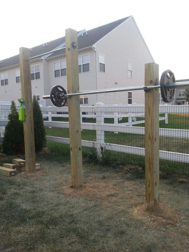 All done! My outdoor workout space with squat rack and ...
