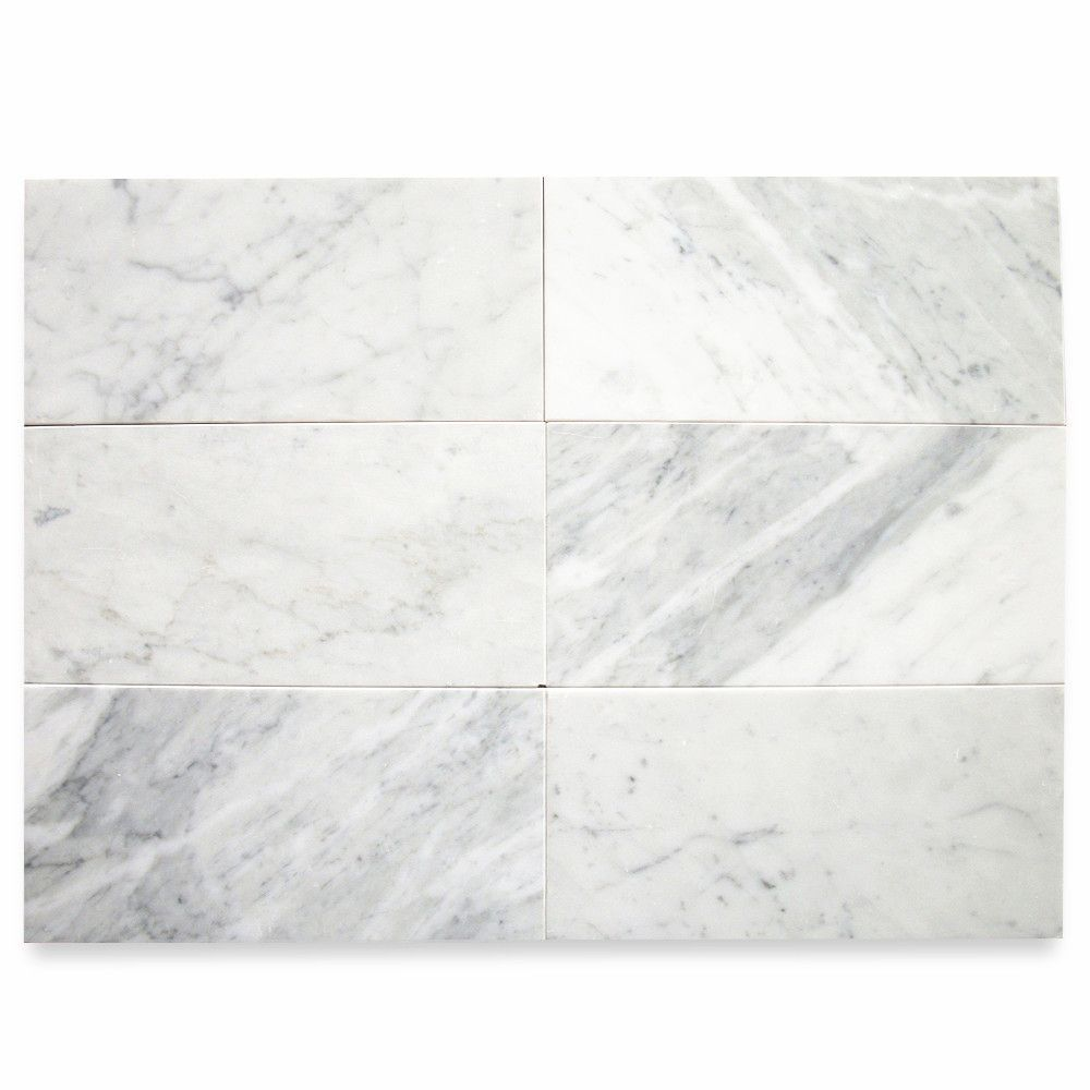 Carrara White Marble 6x12 Subway Tile Honed Carrara Marble Bathroom Honed Marble Floor Honed Marble