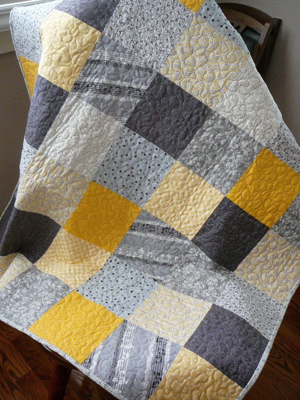 Patchwork Quilt Modern Squares In Yellow Gray And Black Patchwork Quilting Designs Quilts Patchwork Quilts