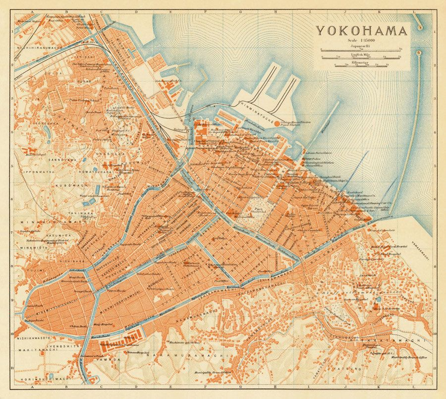 Old map of Yokohama Japan 1914 Vintage Maps Pinterest Yokohama