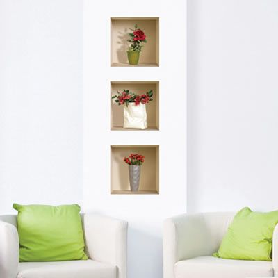 D Effect Rose Vase Wall Decal Wish List Gift Ideas - 3d effect wall decals
