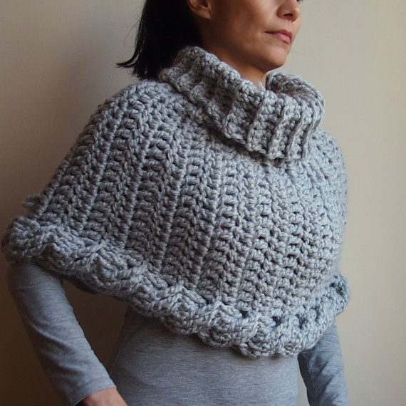 Crochet PATTERN cable capelet, chunky cowl, neckwarmer, infinity ...