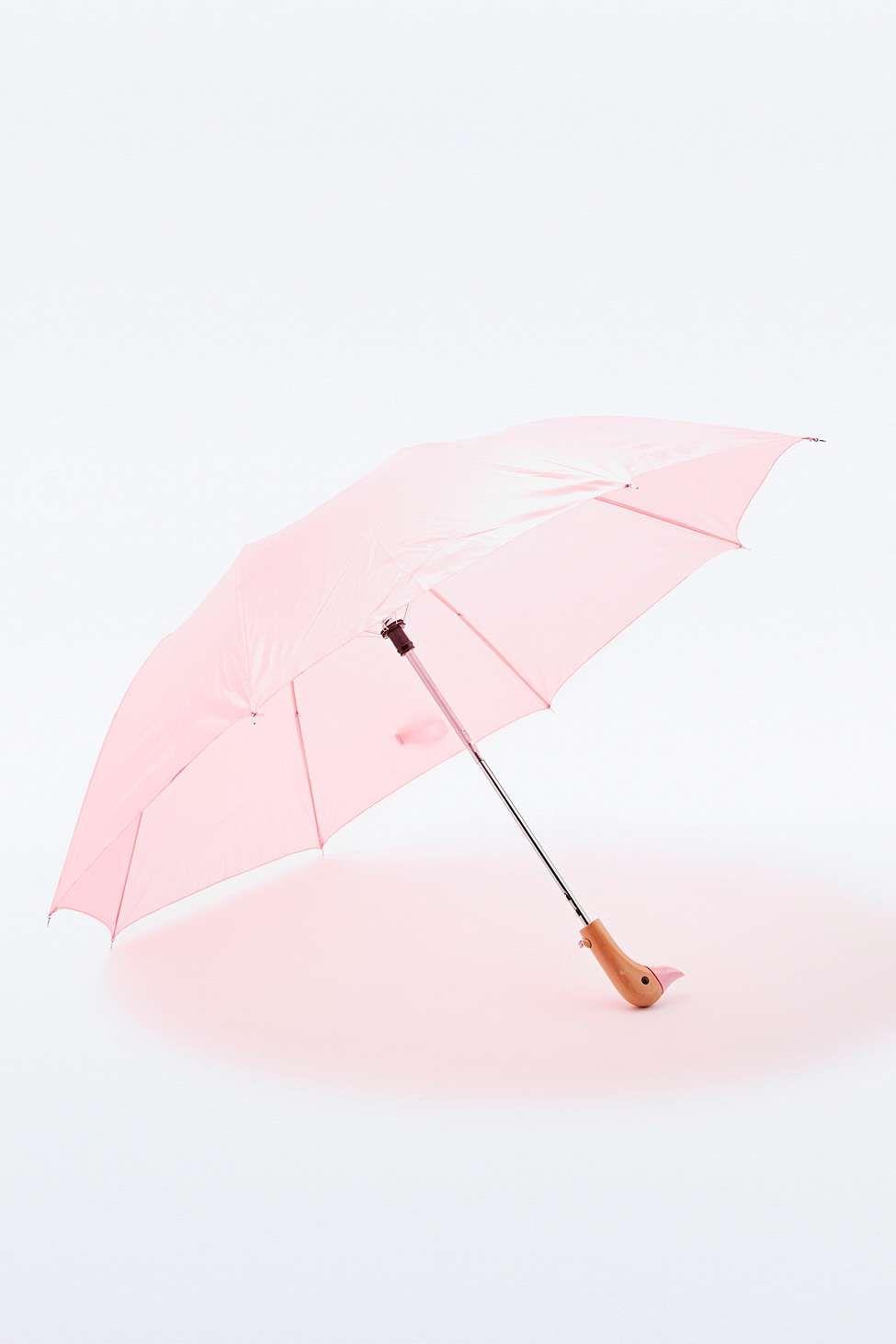 Regenschirm mit Entengriff in Rosa