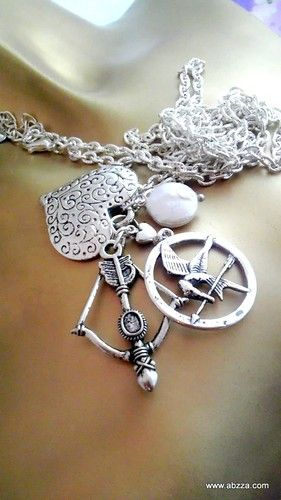 Mockingjay, Bow and Arrow & Heart Necklace. Starting at $5 on Tophatter.com!