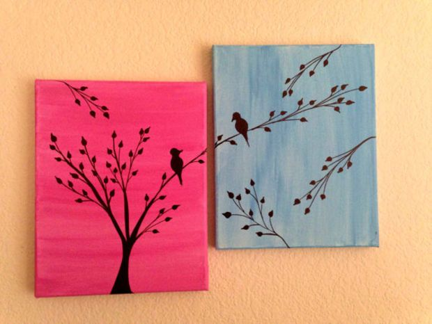 Love Birds Painting Acrylic Painting Canvas Art Pink Blue Background Birds Silhouette Wall De Bird Painting Acrylic Canvas Art Painting Acrylic Painting Canvas