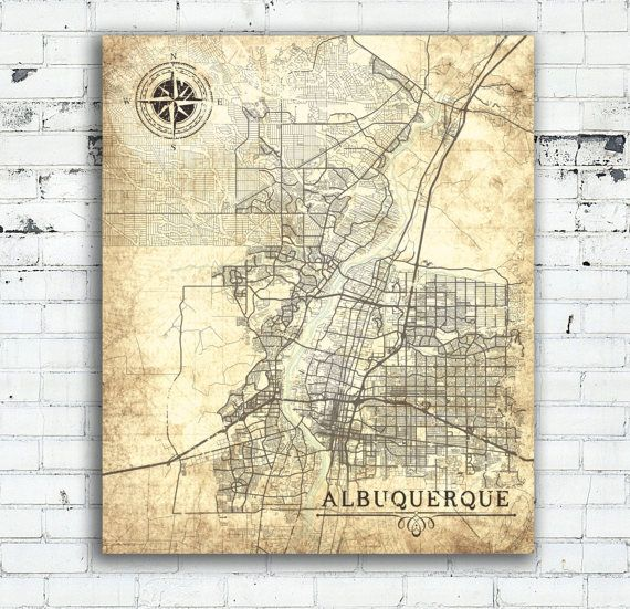 ALBUQUERQUE NM Canvas Print New Mexico Vintage map Albuquerque Nm