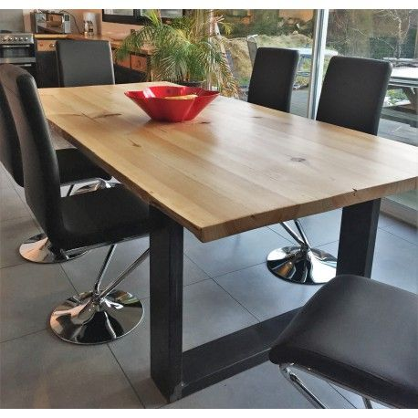 Meuble industriel table de salle à manger en pin massif | Salon en ...