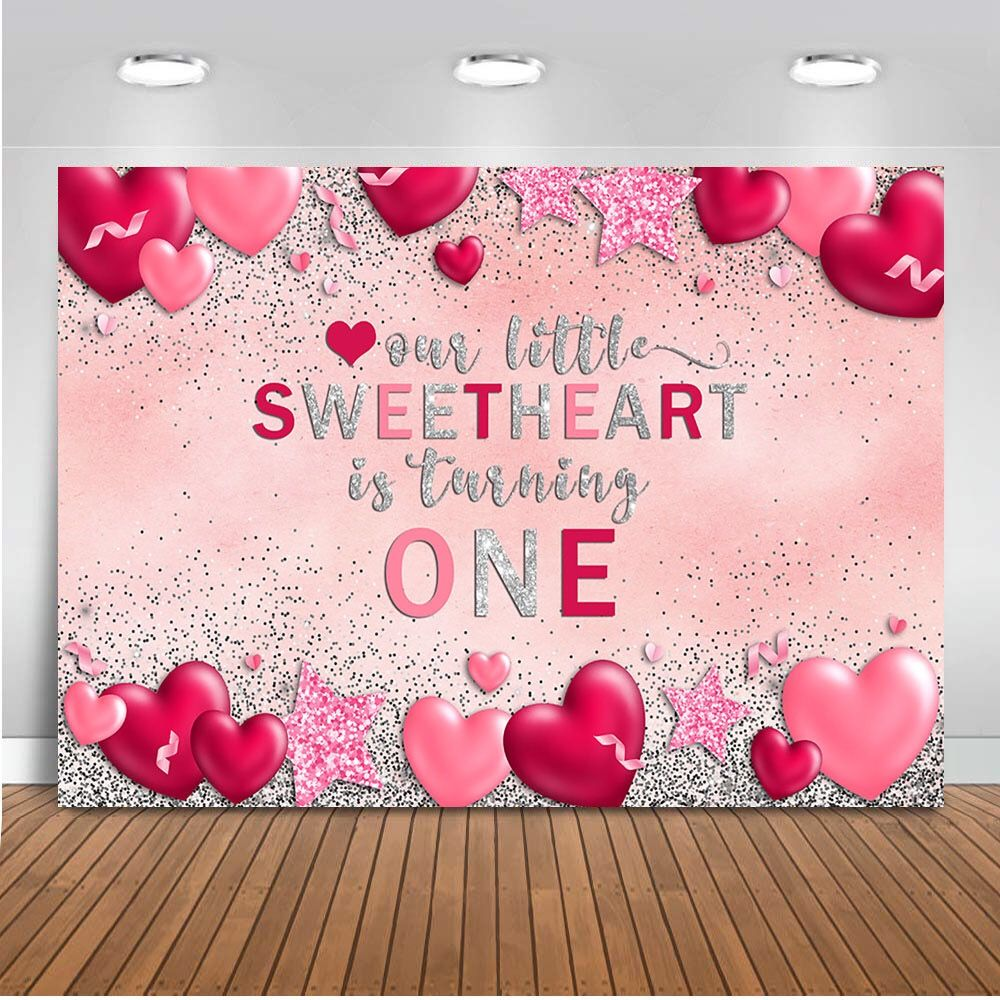 Our little Sweetheart First Birthday Backdrop,San Valentines Party Photo Booth Backdrop,Red Gold Backdrop,Printed I Printable File BVL0006