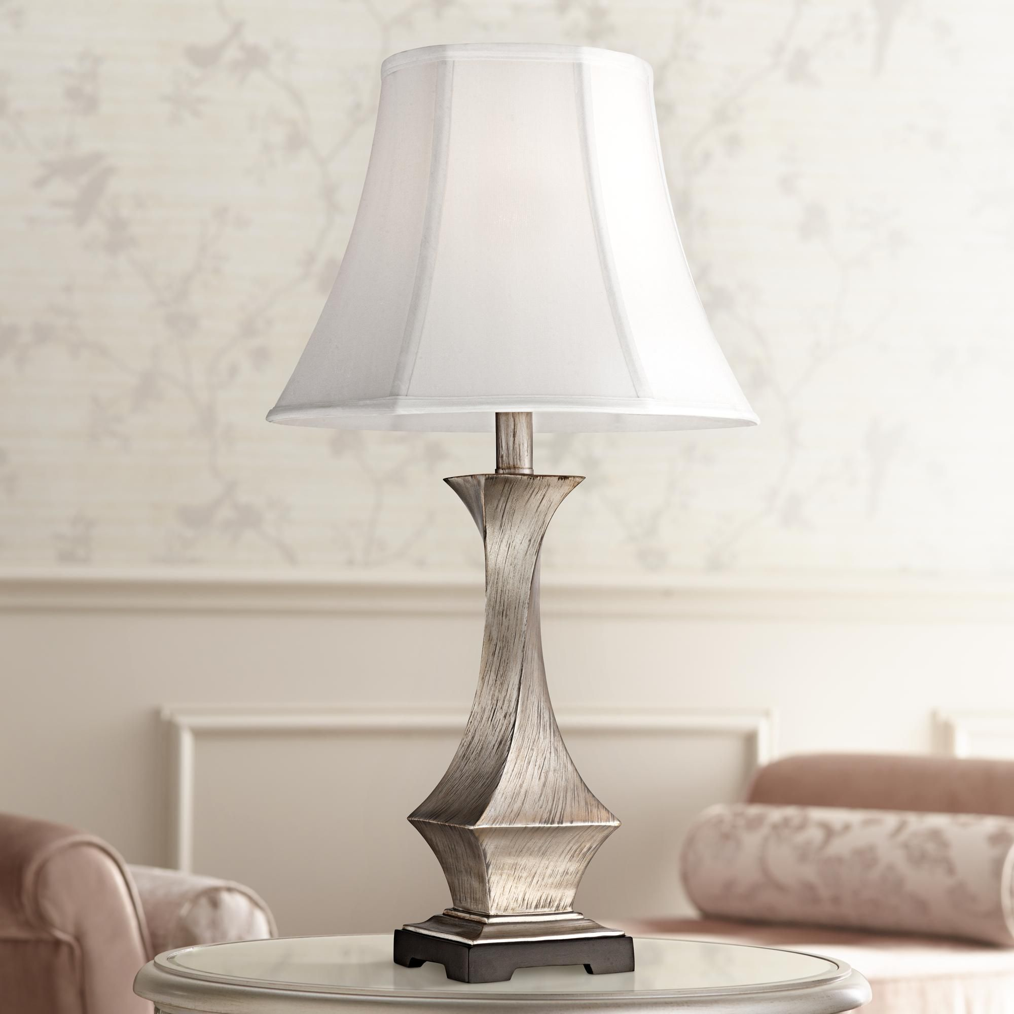 Lydia Silver Leaf Twist Table Lamp Table lamp, White