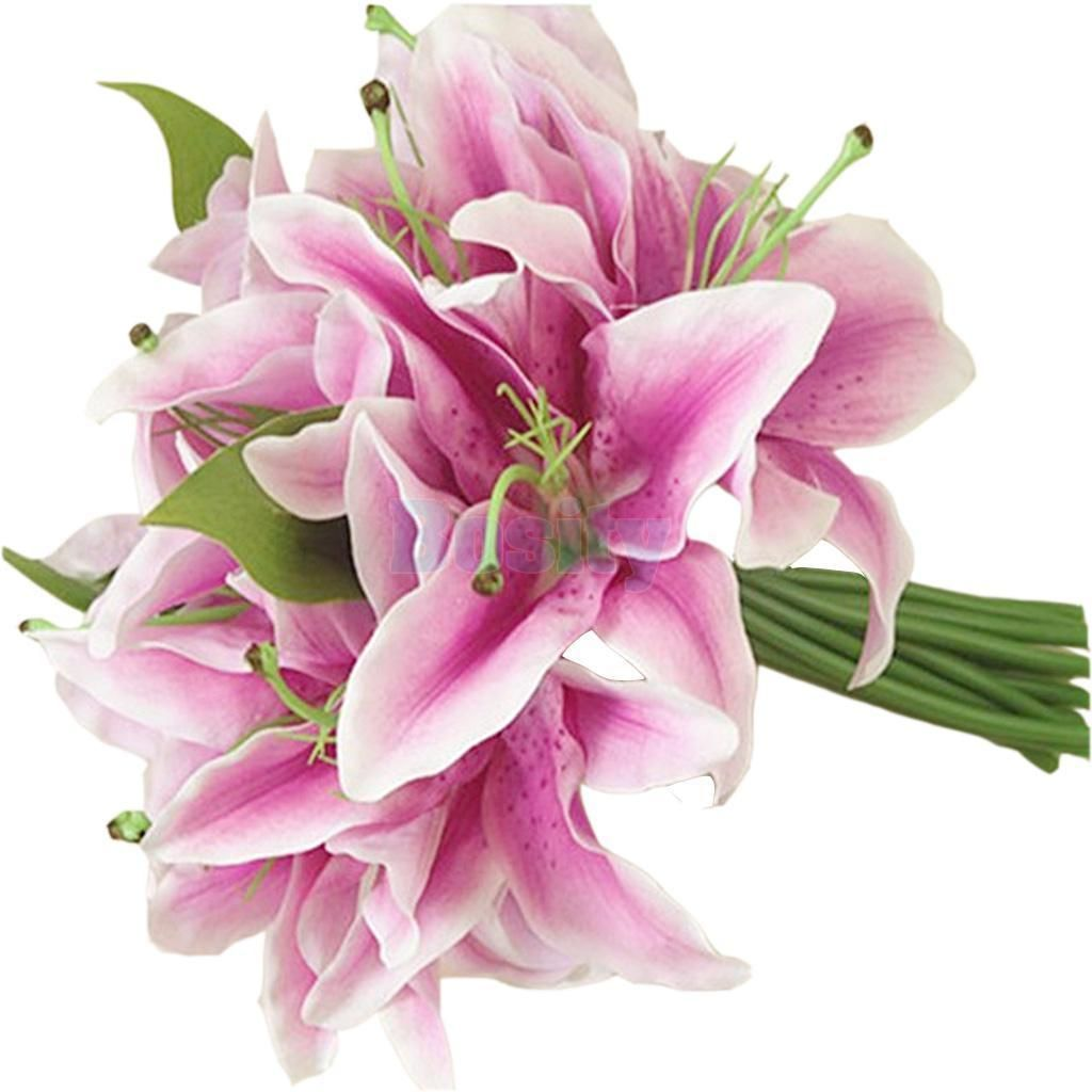 Purple Lily Flower Bouquet Wedding Party Home Table Vase Artificial ...