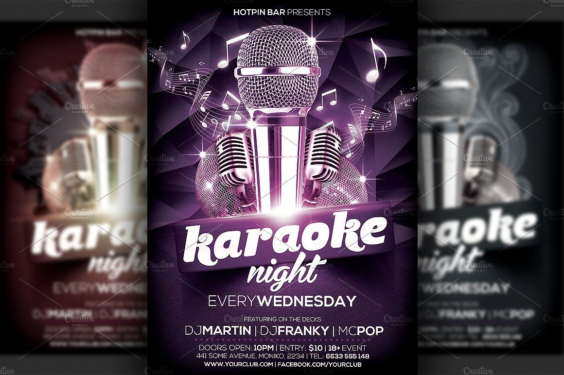 Karaoke Night Flyer Template By Hotpin On Creativemarket  Tres