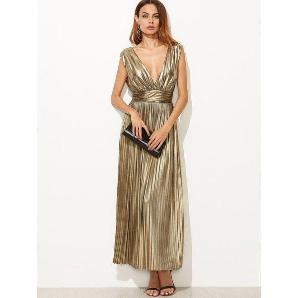 SheIn(sheinside) Metallic Gold Plunge Neck High Waist Pleated Dress ($34) ❤ liked on Polyvore featuring dresses, sleeved maxi dress, sleeveless dress, white sleeveless dress, maxi dresses and white maxi dress
