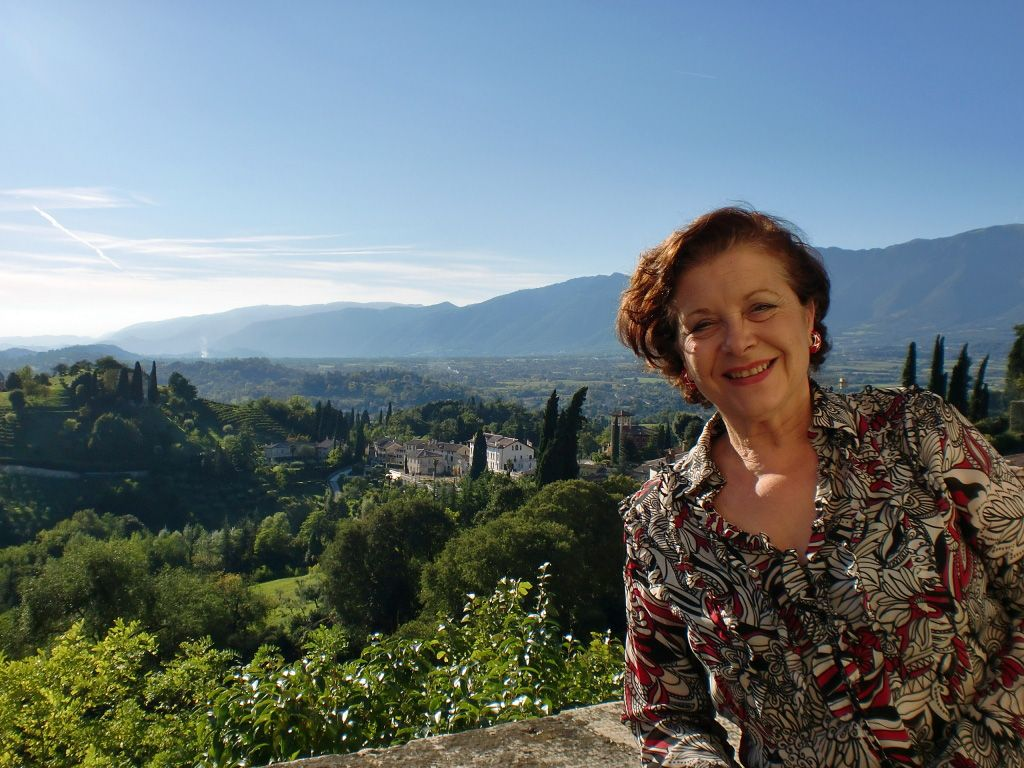 Sarasota Sister Cities director of the relationship with Treviso Province, Italy overlooking the pre-Alps view from Asolo, one of 95 communities in the Province and the original home of the Historic Asolo Theater at the John & Mabel Ringling Museum in Sarasota