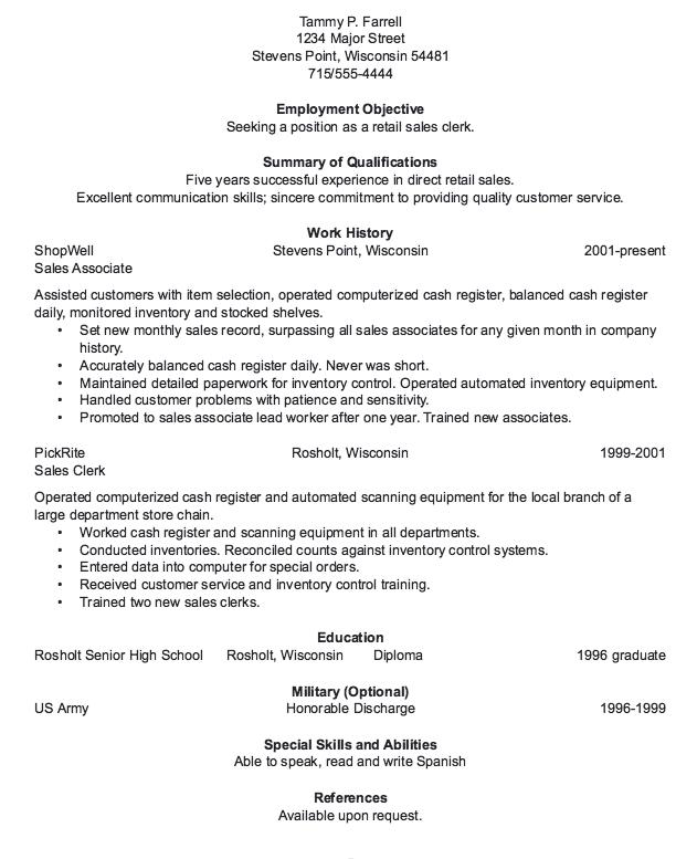 Retail Sales Clerk Resume Sample Resume, Sample resume