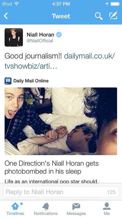 Niall calling out the Daily Mail on their shit again. Cue that's actually Michael that's alseep