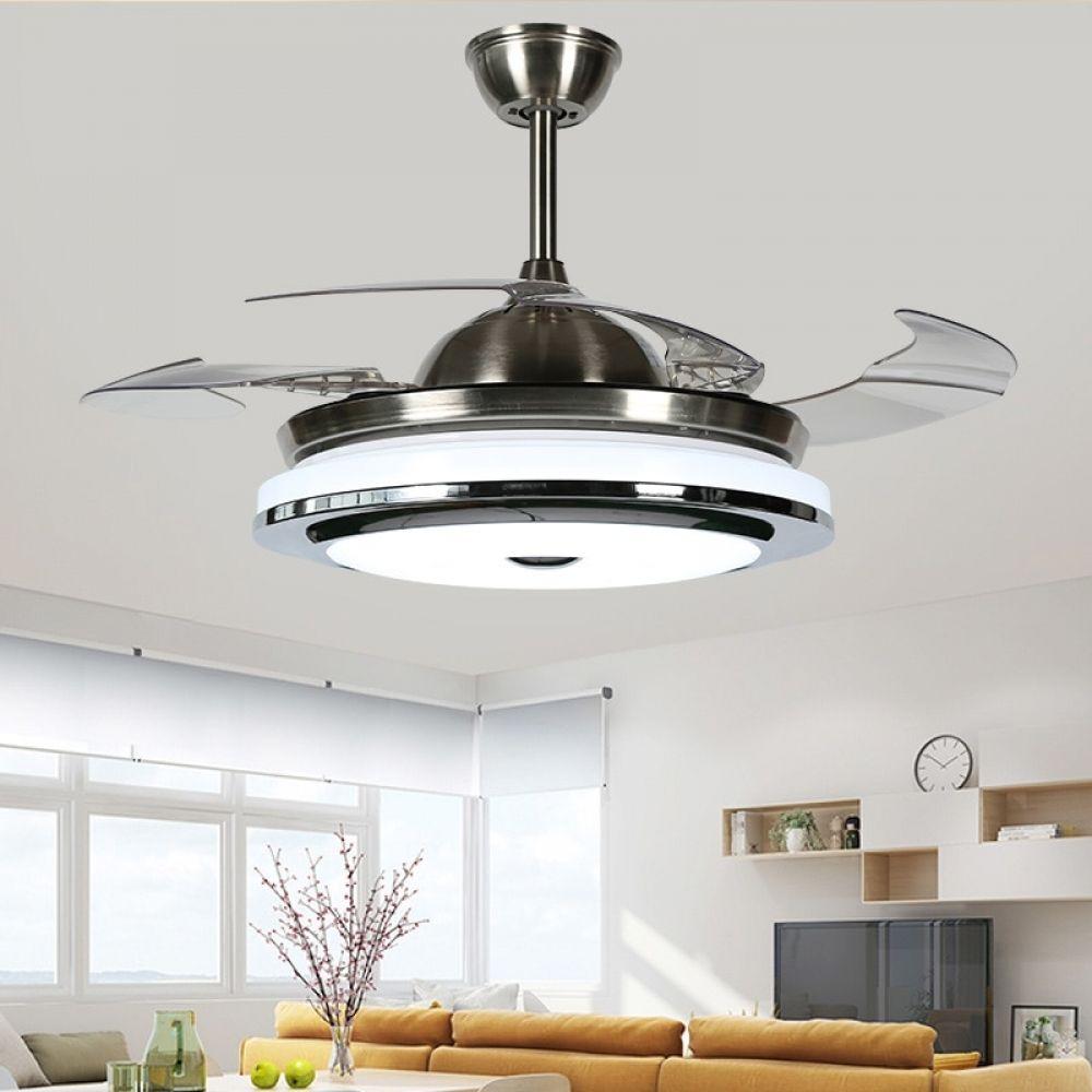 2018 New High Quality Modern Invisible Fan Lights Acrylic Leaf Led Ceiling Fans 110v 220v Wirel Ceiling Fan With Light Fan Light Led Ceiling Fan