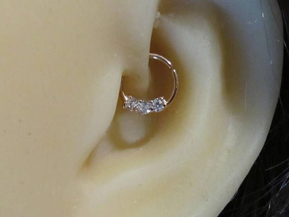 Rose Gold Surgical Steel Daith Piercing Ring With Cz S Cartilage