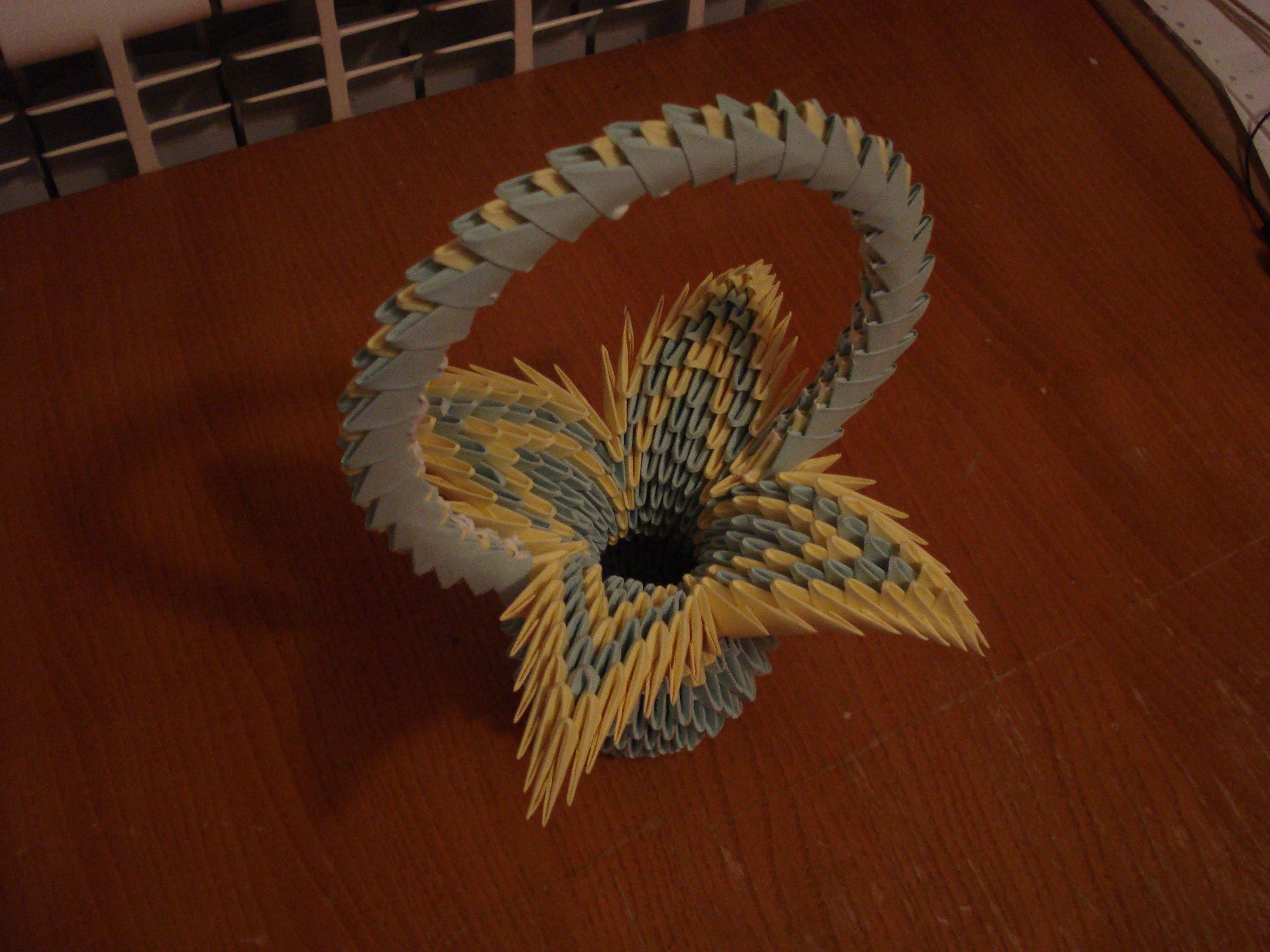 3d Origami Flower Basket Tutorial 2 Origami 3d Pinterest