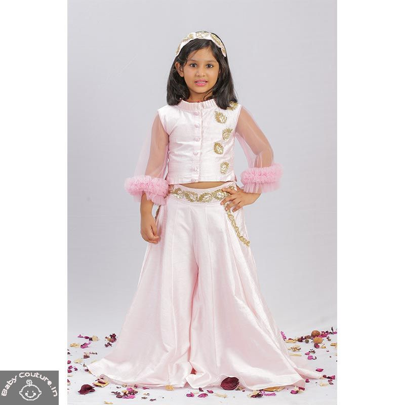 puddles pink kalidar palazzo set  kids party wear dresses