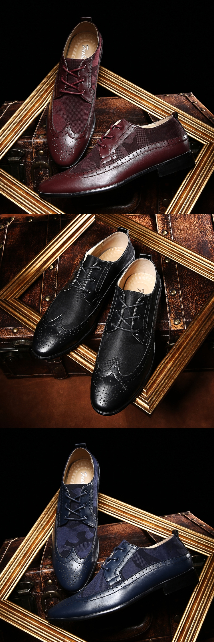 b46e9e83a238b Man Flat Camo Classic Men Dress Shoes Genuine Leather Black Burgundy Red Wingtip  Carved Italian Formal Oxfords Size39-44