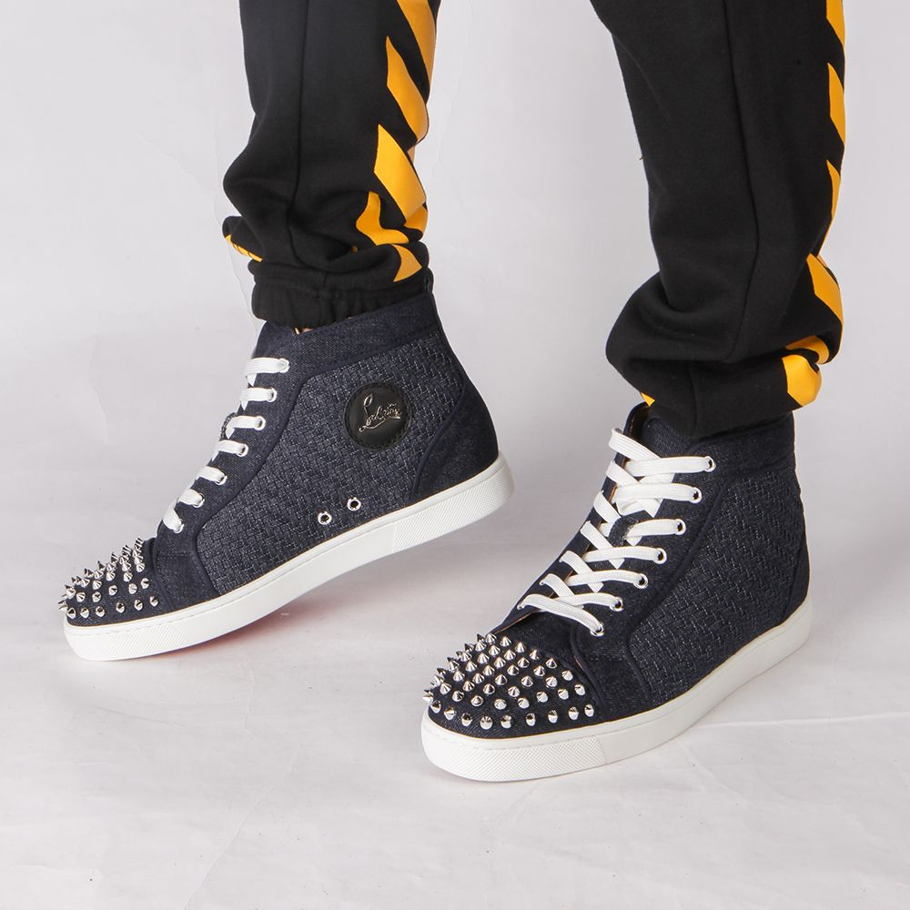 95b559a5cda Limited Version Christian Louboutin Louis Orlato Men's Flat Navy/Silver  Denim Sneaker