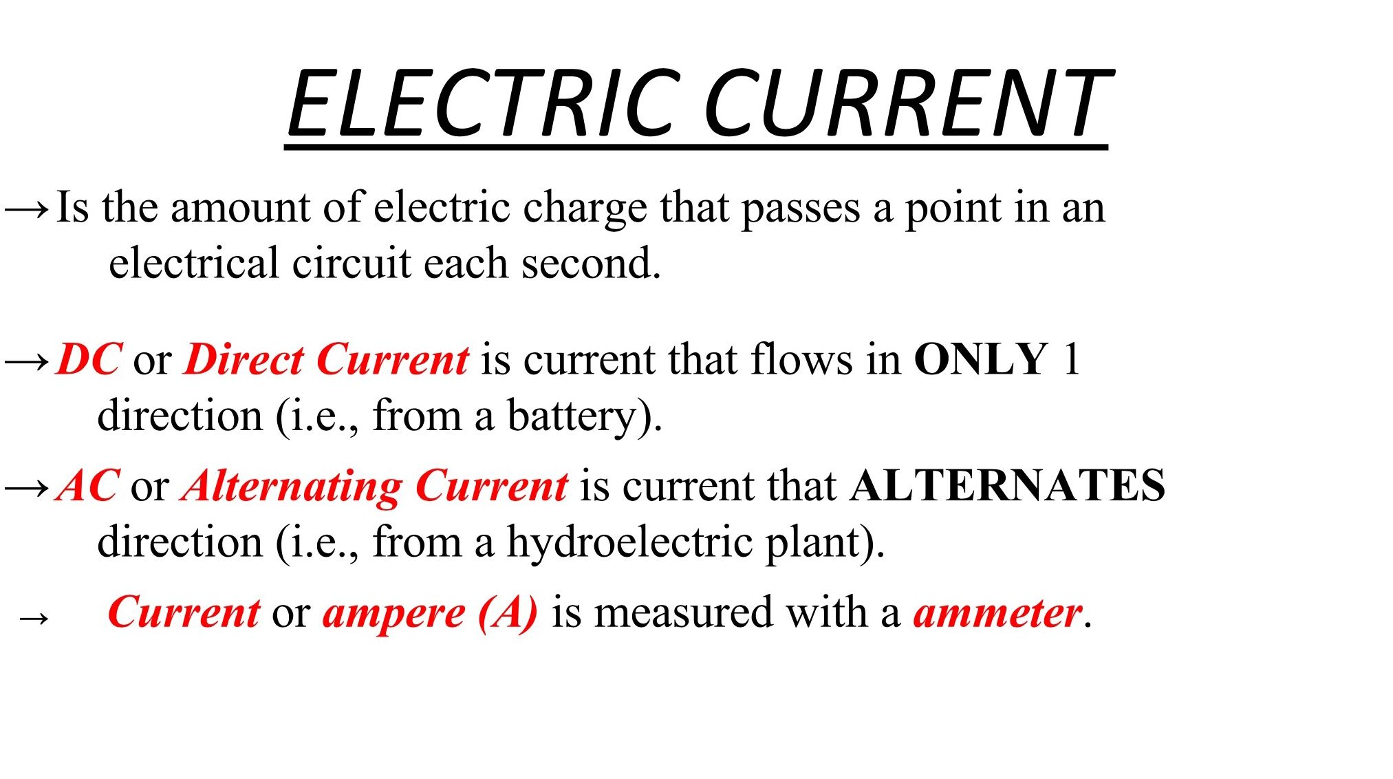 Electric Current Google Slides Note January 12 2018 Snc1d Dc Circuits