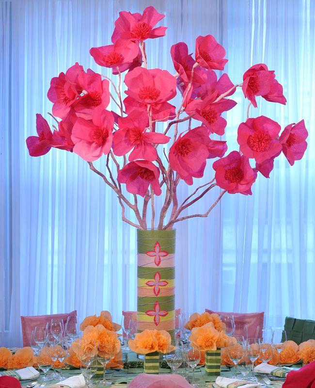 Paper Flower Arrangement Ideas: A Tissue Paper Flower Centerpiece