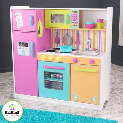 grande cuisine en bois aux couleurs vives - kidkraft - decobb