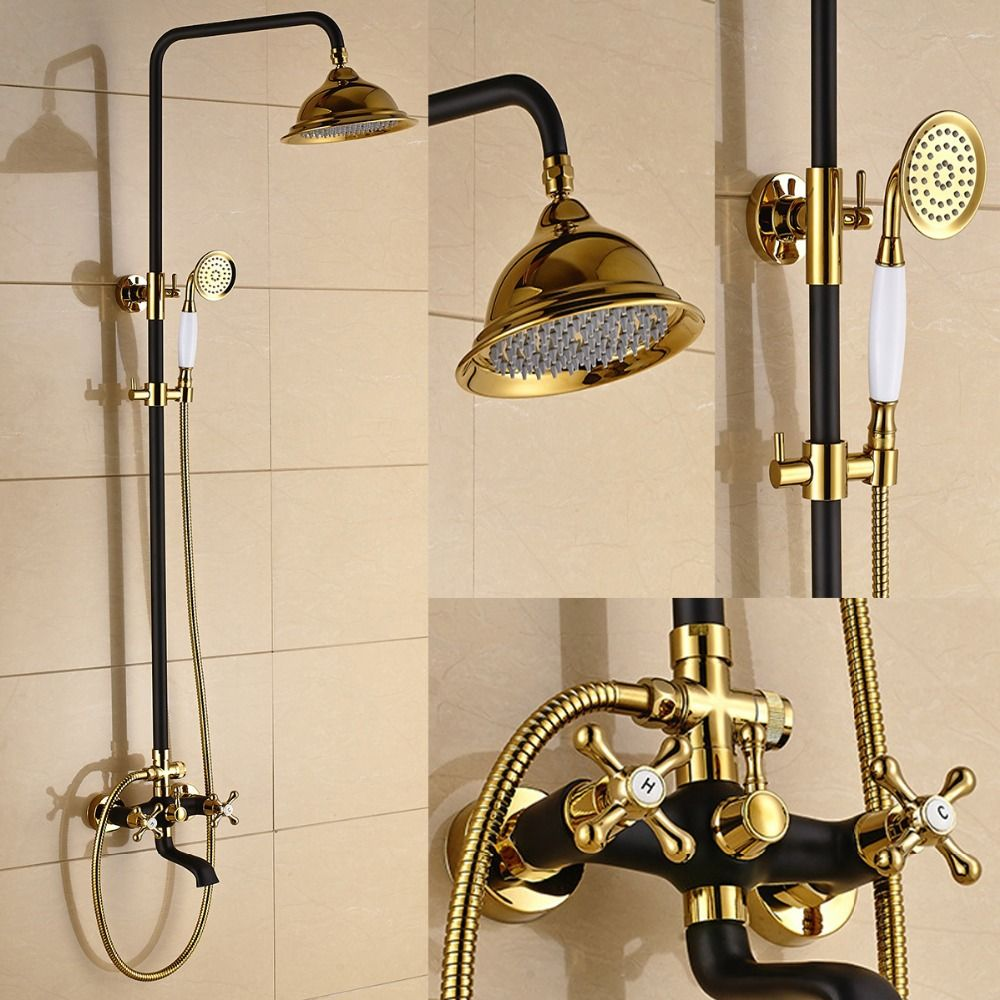 Retro style antique gilded white black font b shower b font bathtub