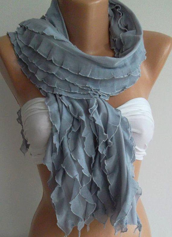 Chiffon  Grey   Elegance  Shawl / Scarf by womann on Etsy, $19.00