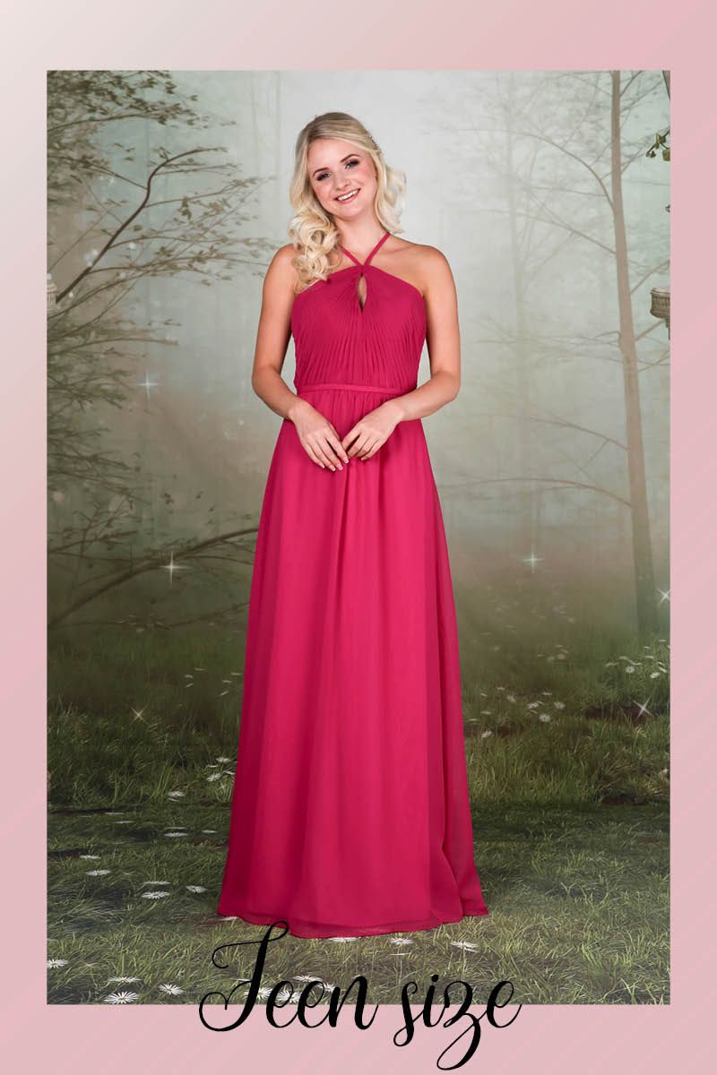 1380ee9305e4 Pretty pleated bodice with halter neck straps, cut-out back and buttons on  the back. Available in any chiffon colour Shown in Fuchsia