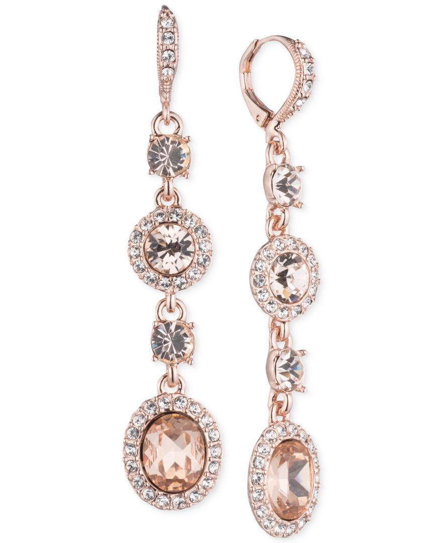 Givenchy Faceted Stone And Crystal Long Linear Drop Earrings