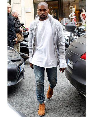 Kanye West Wearing Grey Hoodie White Long Sleeve T Shirt Blue Jeans Tobacco Suede Chelsea Boots Kanye West Style Kanye Fashion Kanye West