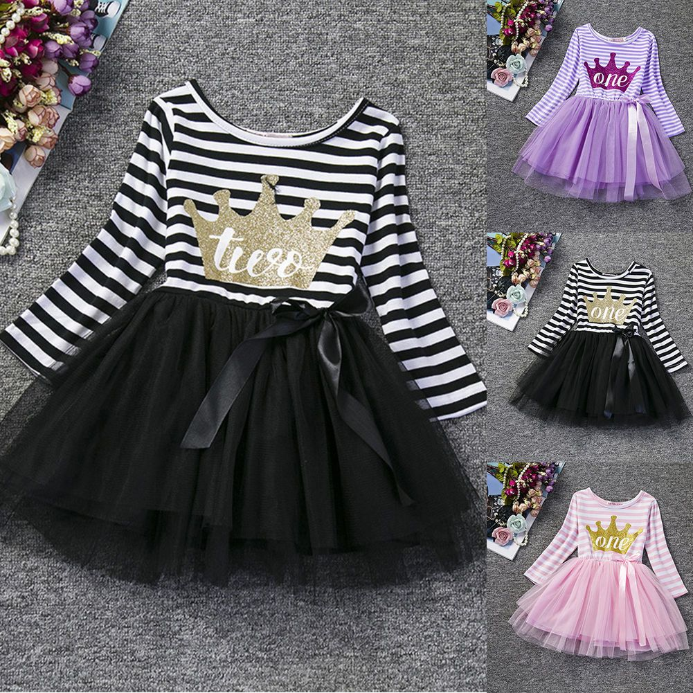 Awesome great baby girls first birthday dress long sleeve striped