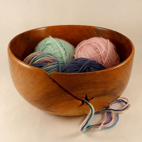 YARN BOWL Extra Large Handcrafted Cherry by HeckathornTurnedWood