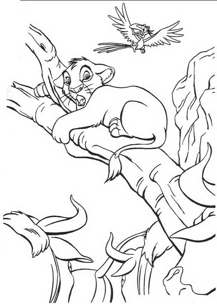 kleurplaat king of de leeuwenkoning simba klimt op
