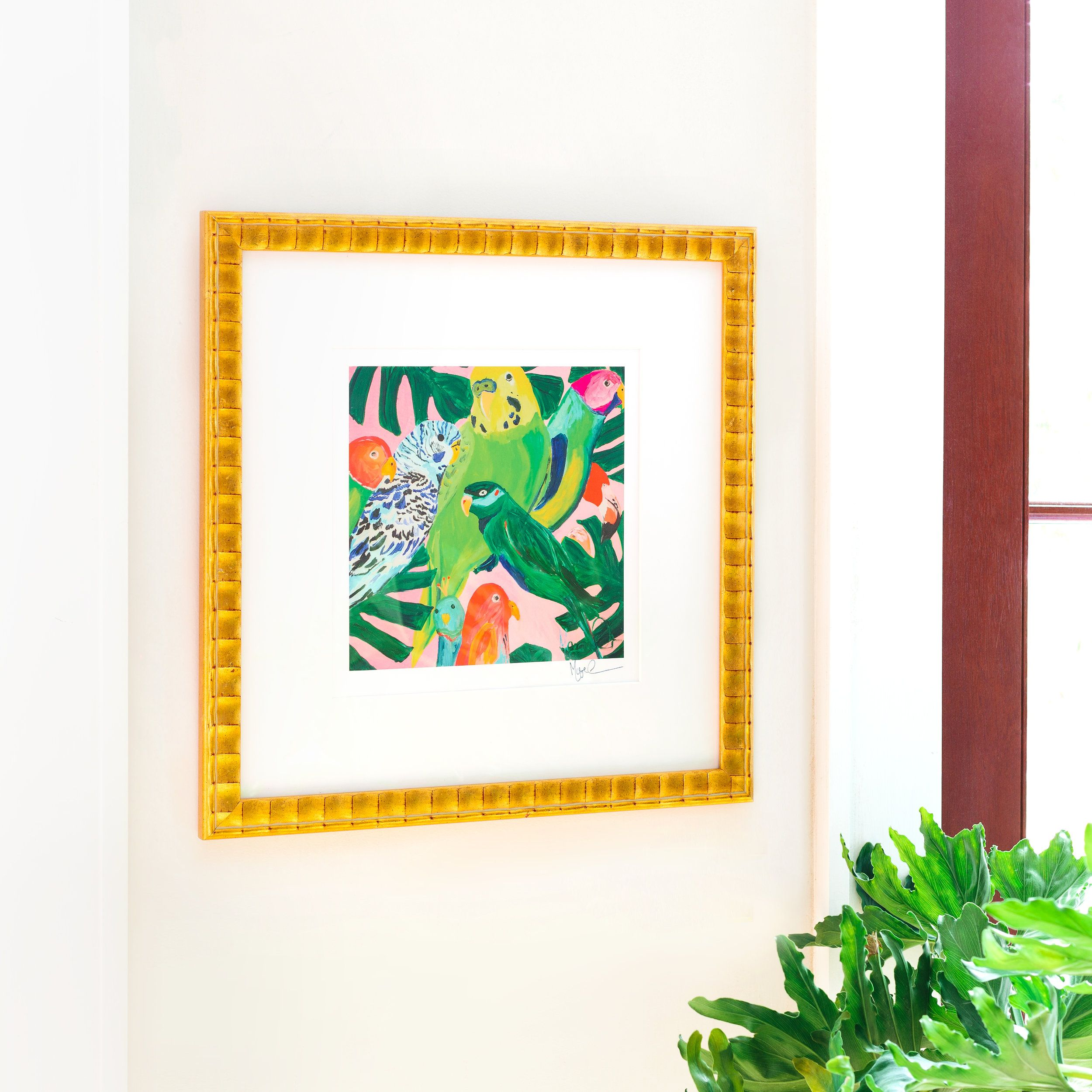 """""""Leaf It to the Birds"""" in our Lafayette frame with a white mat. Lafayette is good for Good for small size, medium size, and large size prints for multiple dimensions."""
