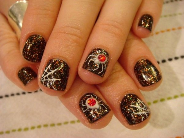 10 Halloween Spider Nail Styles - http://www.beautyandhairstyle.com/ - 10 Halloween Spider Nail Styles - Http://www.beautyandhairstyle.com