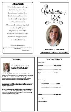 Charming U0027Celebration Of Lifeu0027 Traditional Bi Fold Funeral Program Template. More  Printable Funeral Programme